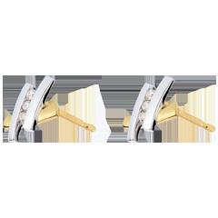 Orecchini Nido Prezioso - Ponte dorato - Oro giallo e Oro bianco - 18 carati - 6 Diamanti