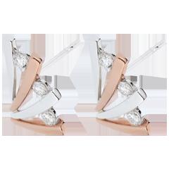 Orecchini Ombrée variazione - Oro rosa e Oro bianco - 18 carati - 6 Diamanti - 0.24 carati