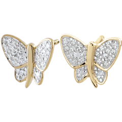 Orecchini Passeggiata Immaginaria - Farfalla Musicista - Oro giallo e Oro bianco - 9 carati - Diamanti