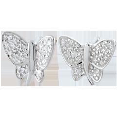 Orecchini Passeggiata Immaginaria - Farfalla Musicista - Oro bianco - 9 carati - Diamanti