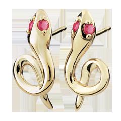 Orecchini Passeggiata Immaginaria - Mini serpente - Oro giallo - 9 carati - Rubini.