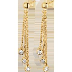 Orecchini pendenti Cascata - Oro giallo - 18 carati - Diamanti