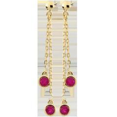 Orecchini pendenti - Ortega - Oro giallo - 9 carati - 4 Rubini - 0.65 carati