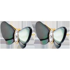 Orecchini Pendenti Passeggiata Immaginaria - Farfalla di madreperla - Oro giallo - 9 carati - Madreperla - Diamanti.