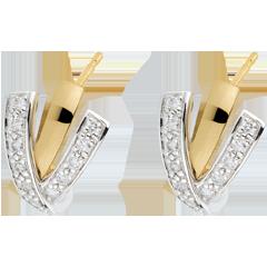 Orecchini Possessiva - Oro bianco e Oro giallo - 18 carati - 24 Diamanti - 0.24 carati