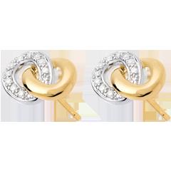 Orecchini punto luce Sautoir - Oro bianco e Oro giallo - 18 carati - 20 diamanti