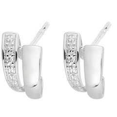 Orecchini Saggezza - Oro bianco - 18 carati - 2 Diamanti