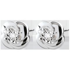 Orecchini Sboccio - Camelia - Oro bianco - 18 Diamanti