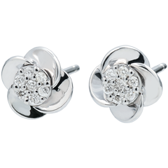 Orecchini Sboccio - Petali di Rosa - Oro bianco - 9 carati - Diamanti