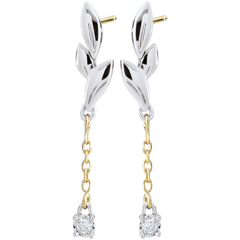 Orecchini Soffio Leggero - Oro bianco e Oro giallo - 9 carati - 2 Diamanti