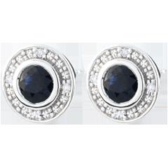 Orecchini Stella di mezzanotte - Oro bianco - 9 carati - 8 Diamanti - 2 Zaffiri - 0.81 carati