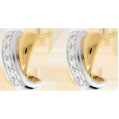 Orecchini Tandem pavé - Oro giallo e Oro bianco - 18 carati - 12 Diamanti