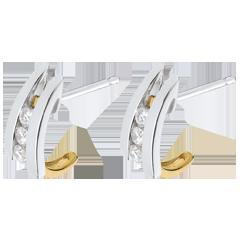 Orecchini Tirabaci - Oro bianco e Oro giallo - 6 Diamanti - 0.24 carati