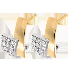Orecchini Tropico - Oro giallo e Oro bianco pavé - 24 Diamanti - 0.17 carati
