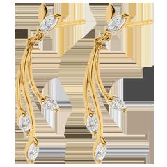 Orecchini Vegetazione lussureggiante - Oro bianco e Oro giallo - 18 carati - 8 Diamanti