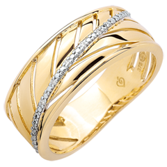 Palm-inspired Ring - 9 carat yellow gold and diamonds