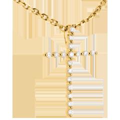 Pandantiv cruciuliţă din aur galben de 18K pavat - 17 diamante