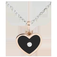 Pandantiv Inimă Magică - aur alb şi aur roz de 18K