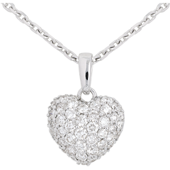 Paved diamond heart pendant - 0.67 carat - 50 diamonds