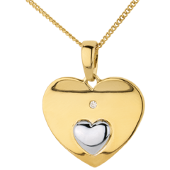 Pendant Hearts Together - Yellow gold