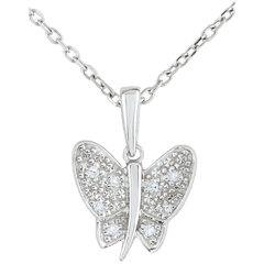 Pendant Imaginary Walk - Butterfly Musician - White Gold