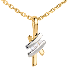 Pendant Precious Nest - Sinogram trilogy - white and yellow gold - 18 carats