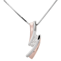Pendant Precious Nest - Trilogy diamond - pink gold. white gold - 3 diamonds