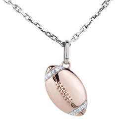 Pendentif Ballon de rugby - or blanc et or rose 18 carats et diamants