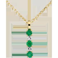 Pendentif Clarisse - émeraudes et diamants - or jaune 9 carats