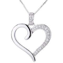 Pendentif Coeur Amazone or blanc 9 carats