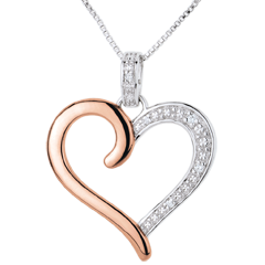 Pendentif Coeur Amazone - or blanc et or rose 9 carats