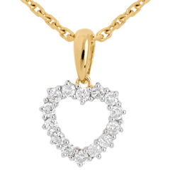 Pendentif Coeur échancré diamants - 0.25 carat - 14 diamants - or jaune 18 carats