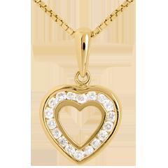 Pendentif coeur en abyme - 18 diamants - 0.18 carat - or jaune 9 carats