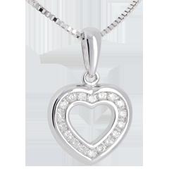 Pendentif coeur en abyme - or blanc 18 carats pavé - 0.25 carat - 18 diamants