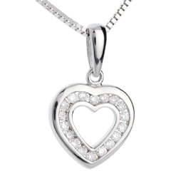 Pendentif coeur en abyme - or blanc 18 carats pavé - 18 diamants
