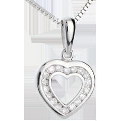 Pendentif coeur en abyme - or blanc 9 carats pavé - 18 diamants - 0.18 carat