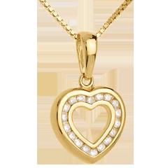 Pendentif coeur en abyme - or jaune pavé - 0.25 carat - 18 diamants