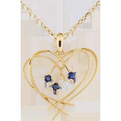 Pendentif Coeur étincelles - diamant et saphirs