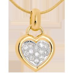 Pendentif coeur pavé or jaune - 0.26 carat - 13 diamants