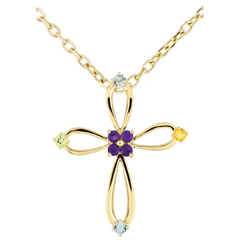 Pendentif Croix Byzance arrondie - or jaune 9 carats