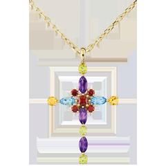 Pendentif Croix Byzance multicolore