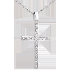 Pendentif croix or blanc diamant pavée - 0.15 carat