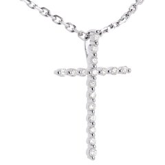 Pendentif Croix Or Blanc Diamants - 17 diamants - or blanc 9 carats
