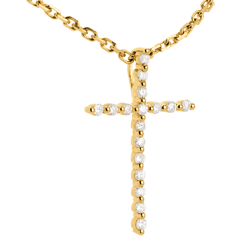 Pendentif croix pavée or jaune - 17 diamants