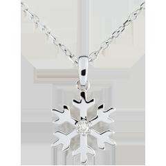 Pendentif diamant Flocon givré - or blanc 9 carats
