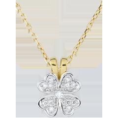 Pendentif Fraicheur - Tendre trèfle - diamants - or blanc et or jaune 9 carats