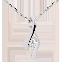 Pendentif Infini or blanc 9 carats - diamant 0.13 carat