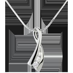 Pendentif Nid Précieux- Noeud illusion - or blanc 18 carats