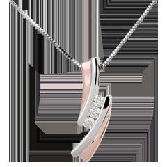 Pendentif Nid Précieux - Trilogie diamant - or rose, or blanc - 3 diamants - 18 carats