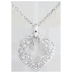 Pendentif or blanc 9 carats Diamant Serrure